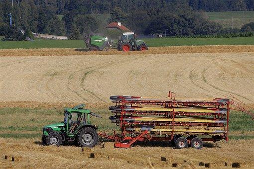 Bale Cart, Tractor, Harvest, Field, Straw, Bale
