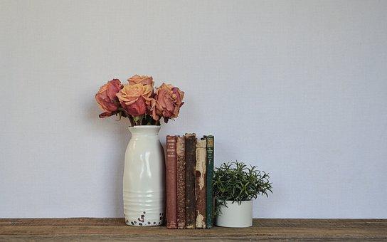 Decoration, Vase, Books, Roses, Flowers, Plant, Nature