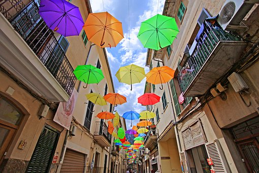 Road, Street, Umbrellas, Holiday, Summer, Town, Travel