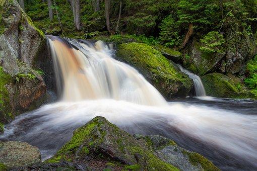 Waterfall, Water, Stream, Landscape, Water Falls, Flow