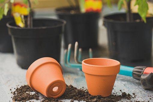 Pots, Soil, Tools, Gardening, Table, Plants, Garden