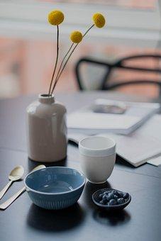 Flowers, Vase, Bowl, Spoon, Table, Indoor, Red, Flower