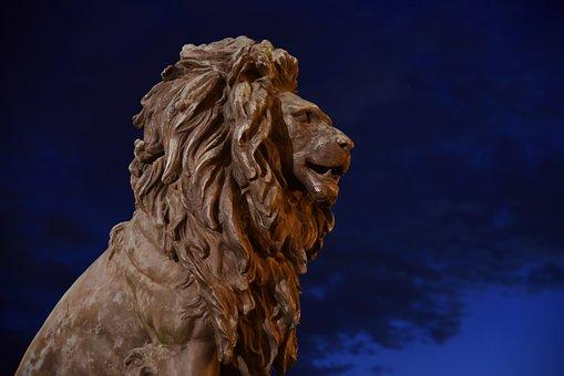 Lion, Statue, Landmark, Night, Sculpture, Bridge, City