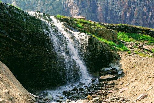 Waterfall, Rocks, Stream, Grass, Splash, Water
