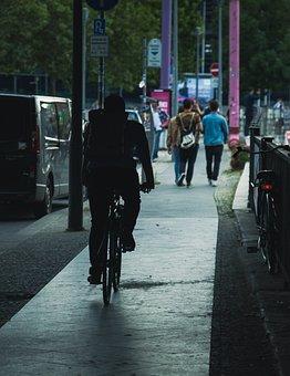 City, Night, Biking, Cycling, Road, Cyclist, Cycle