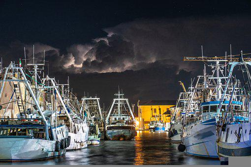 Fishing Vessels, Boats, Marina, Port, Harbor, Night