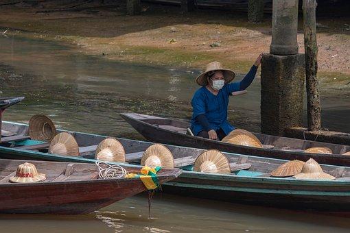 Boat, Market, Jungle, Thailand, Floating Market