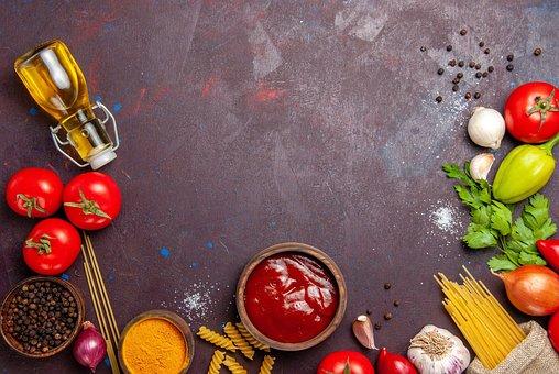 Ingredients, Frame, Flat Lay, Background, Food, Pasta