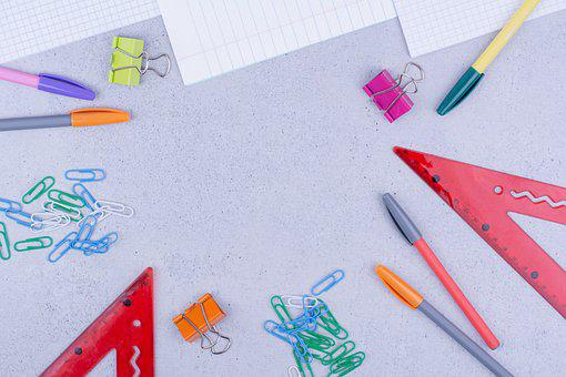 Stationery, Frame, Flat Lay, Background, Paper Clips