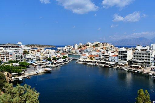 Buildings, Houses, Bridge, Sea, Island, City, Greece