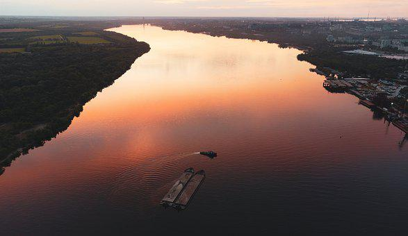River, Bay, Boat, Ship, Barge, Tug, Big, Business