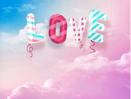 Love, Romance, Balloons, Clouds, Celebration