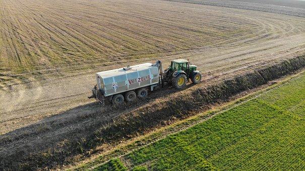 Agriculture, Road, Field, Fertilization, Tractor, Wheat