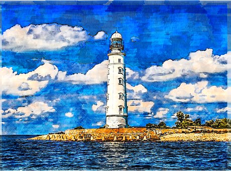 Lighthouse, Building, Waves, Coast, Coastline