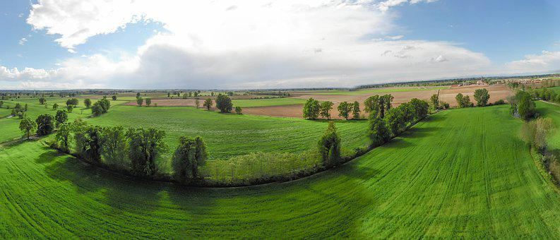 Fields, Rural, Panorama, Lodigiano, Farm, Landscape
