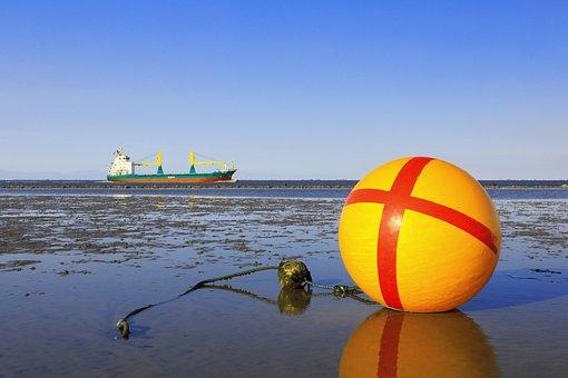 Ship, Sand, Beach, Shore, Coast, North Sea, Watts