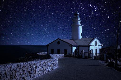 Lighthouse, Night, Starry Sky, Moon, Stars, Sky