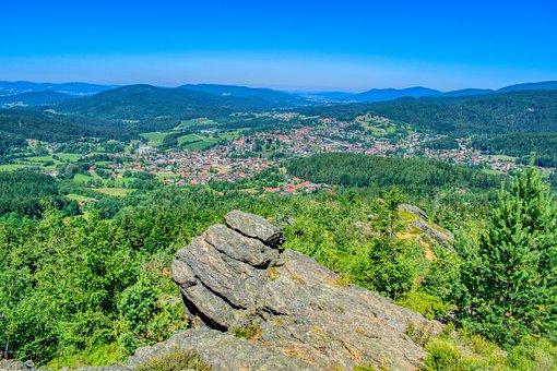 Rock, Trees, Forest, Bavarian Forest, Tourism, Bavaria