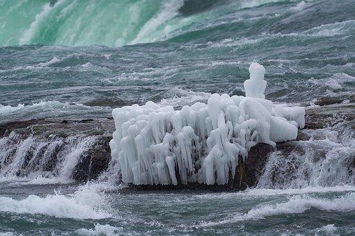 Waterfall, Cascade, Stream, Ice, Frost, Water, Winter