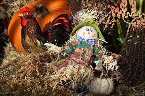 Scarecrow, Rooster, Hay, Autumn, October, Decoration