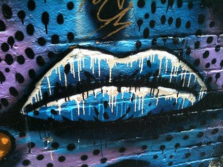 Lips, Blue Lips, Graffiti, Mouth, Graffito, Melbourne