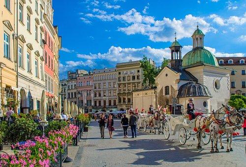 Krakow, Polga, Europe, Wagon, Cab, Horse, Area, Center