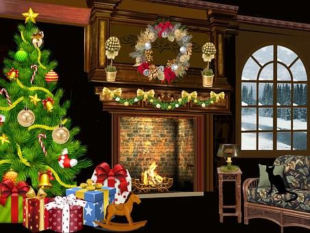 Christmas, Winter, Fir, Garland, Snow, Windows