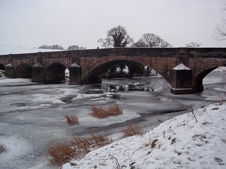Bridge, River, Snow, Landscape, Ice, City, Travel, View