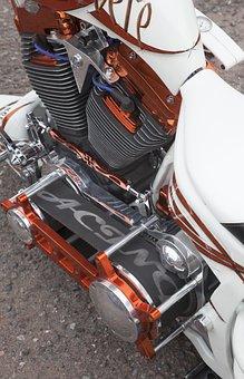Hd, Motorcycle, Engine, Seat, Tank, Bike, Custom