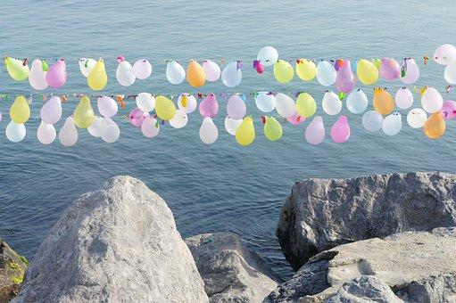 Balloons, Color, Sea, Rock, Entertainment, Istanbul