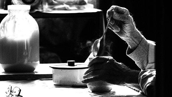 Coffee, People, Hand, Blackandwhite, Old, Man, Bw, Home