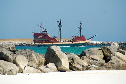 Boat, Ocean, Sea, Water, Rocks, Boulders, Sky, Blue