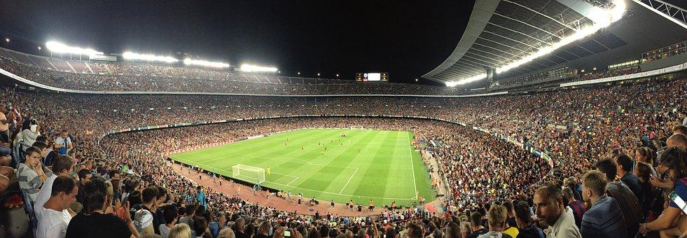 Football, Stadium, Barcelona, Public, Grass, Spain