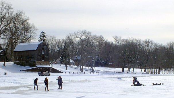 Winter, Wonderland, Snow, Ice, Pond, Frozen, Quaint