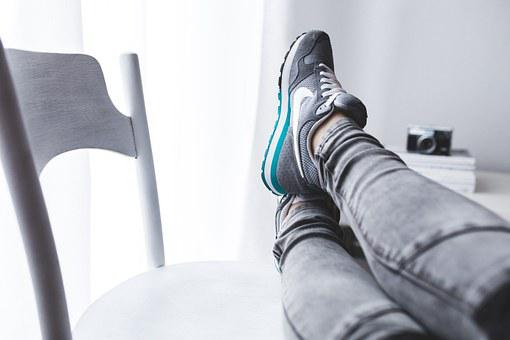 Legs, Woman, Girl, Rest, Chair, Trainers, Nike