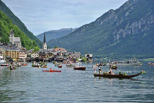 Hallstatt, Village, Lake, Boats