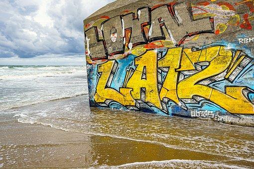 Graffiti, Beach, Modern Art, Moder Art, Lost Places