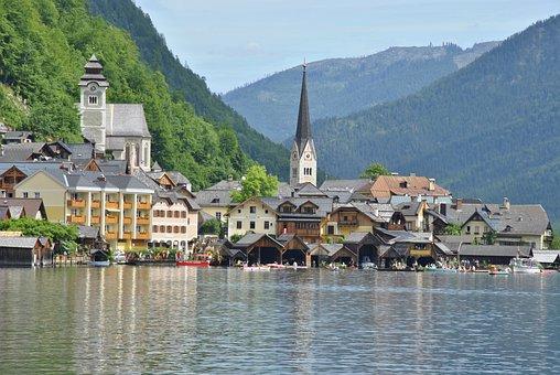 Hallstatt, Village, Lake, Hallstättersee, Salzkammergut