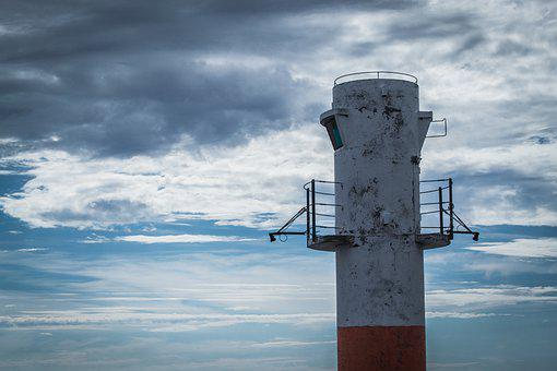 Lighthouse, Beacon, Navigation, Sky, Clouds, Tower