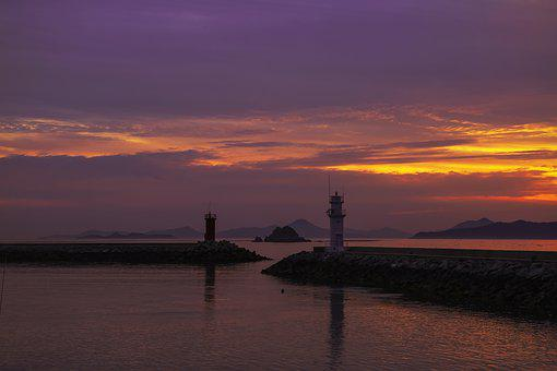 Ocean, Nature, Lighthouse, Sunset, Beach, Dusk