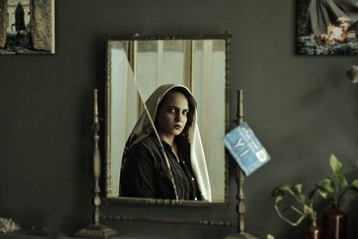 Mirror, Reflection, Woman, Iranian Woman
