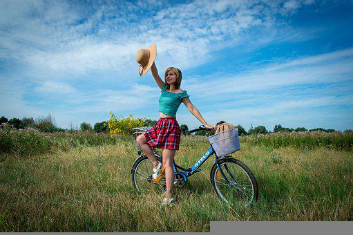 Meadow, Field, Bicycle, Young Woman, Nature, Skirt