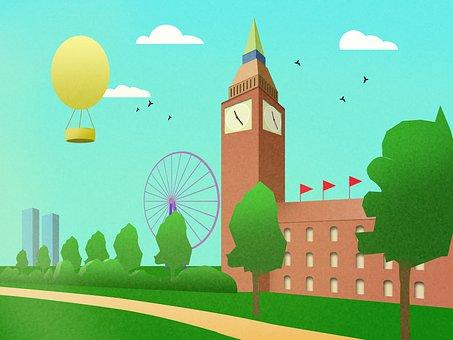 Ferris Wheel, Building, Hot Air Balloon, Digital