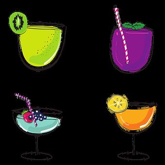 Cocktails, Drink, Beverage, Mocktails, Drawing, Sketch