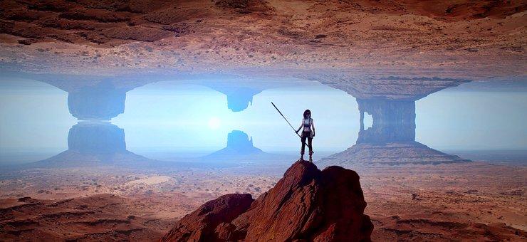 Landscape, Fantastic, Surreal, Mood, Desert, Woman