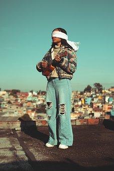 Black Model, Blindfold, Ukulele, Music, Art, Woman