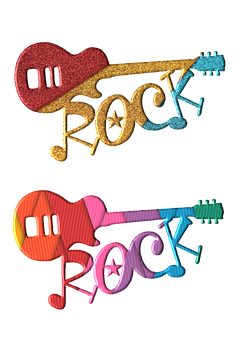 Guitar, Abstract, Colourful, Clipart, Scrapbook, Star