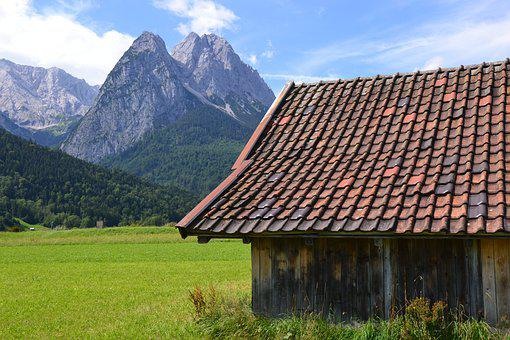 Allgäu, Mountains, Cottage, Cabin, Field, Bavaria