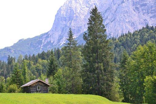 Allgäu, Bavaria, Alps, Landscape, Hut, Field, Mountains