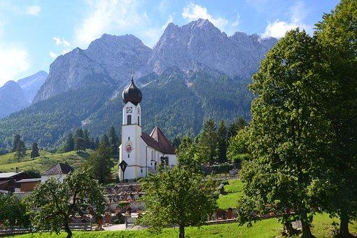 Allgäu, Bavaria, Church, Village, Germany, Mountains